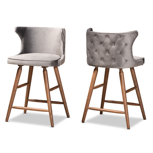 Baxton Studio Sagira Modern and Contemporary Transitional Grey Velvet Fabric Upholstered and Walnut Brown Finished Wood 2-Piece Counter Stool Set