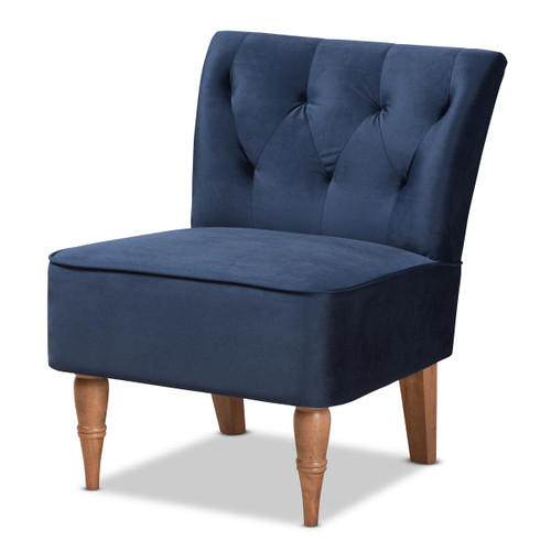 Baxton Studio Harmon Modern and Contemporary Transitional Navy Blue Velvet Fabric Upholstered and Walnut Brown Finished Wood Accent Chair