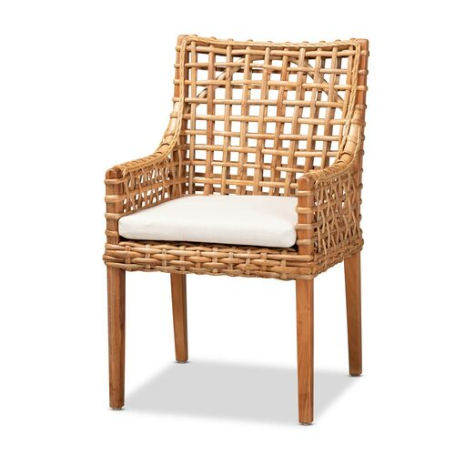 Baxton Studio Saoka Modern and Contemporary Natural Brown Finished Wood and Rattan Armchair