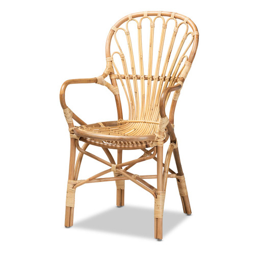 Baxton Studio Sheraton Modern and Contemporary Natural Finished Rattan Armchair