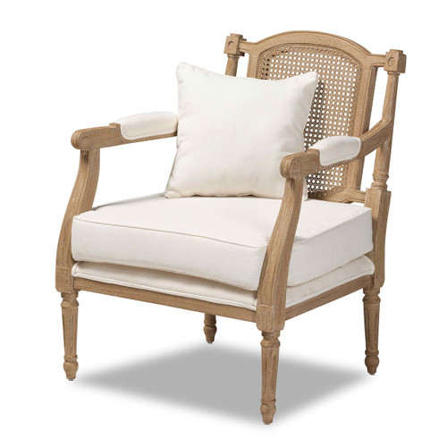 Baxton Studio Clemence French Provincial Ivory Fabric Upholstered Whitewashed Wood Armchair