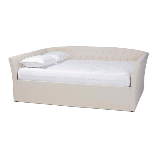 Baxton Studio Delora Modern and Contemporary Beige Fabric Upholstered Queen Size Daybed
