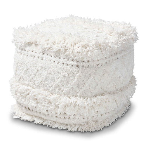 Baxton Studio Curlew Moroccan Inspired Ivory Handwoven Cotton Pouf Ottoman