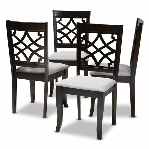 Baxton Studio Mael Modern and Contemporary Grey Fabric Upholstered Espresso Brown Finished Wood Dining Chair Set of 4