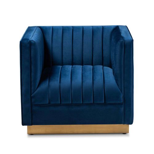 Baxton Studio Aveline Glam and Luxe Navy Blue Velvet Fabric Upholstered Brushed Gold Finished Armchair