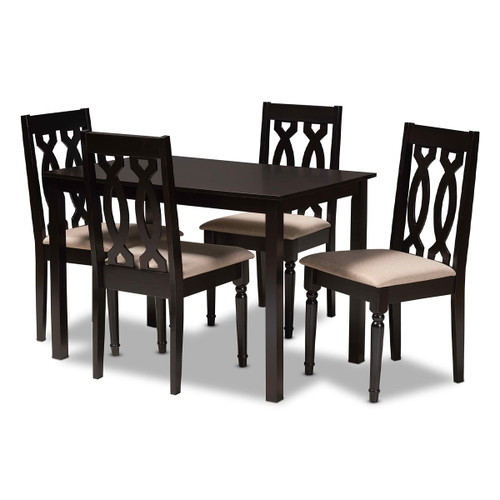 Baxton Studio Cherese Modern and Contemporary Sand Fabric Upholstered Espresso Brown Finished 5-Piece Wood Dining Set