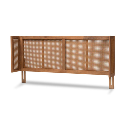 Baxton Studio Rina Mid-Century Modern Ash Wanut Finished Wood and Synthetic Rattan Queen Size Wrap-Around Headboard