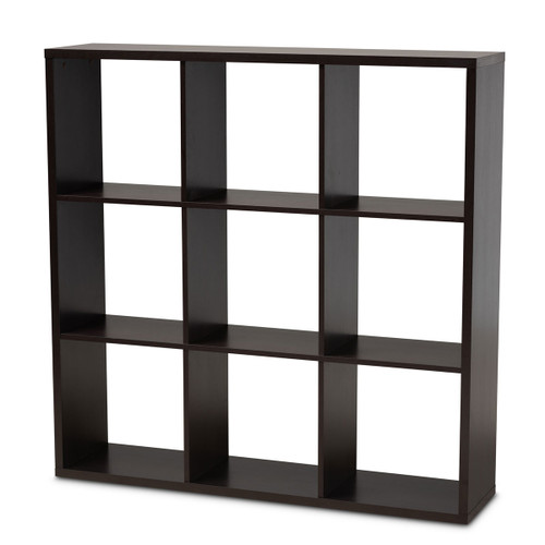 Baxton Studio Janne Modern and Contemporary  Brown Finished 9-Cube Multipurpose Storage Shelf