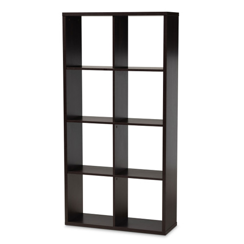 Baxton Studio Janne Modern and Contemporary  Brown Finished 8-Cube Multipurpose Storage Shelf