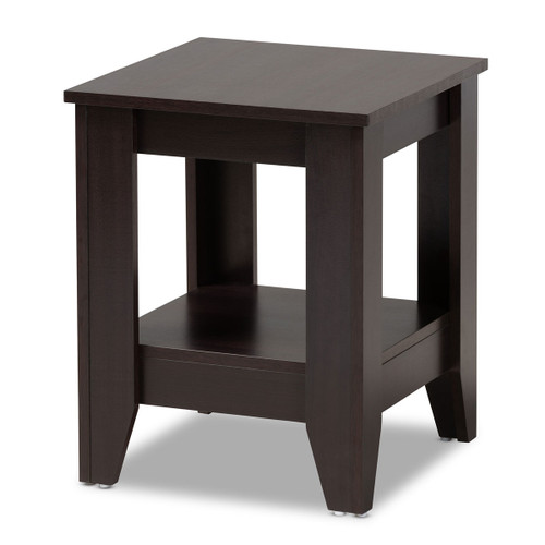 Baxton Studio Audra Modern and Contemporary  Brown Finished Wood End Table