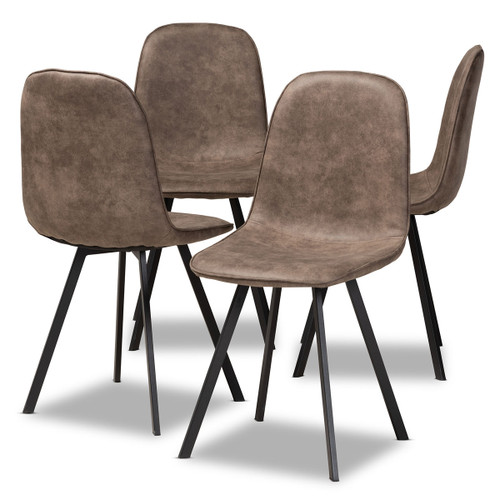 Baxton Studio Filicia Modern and Contemporary Grey and Brown Imitation Leather Upholstered 4-Piece Metal Dining Chair Set  Set
