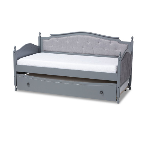 Baxton Studio Marlie Classic and Traditional Grey Fabric Upholstered Grey Finished Wood Twin Size Daybed with Trundle