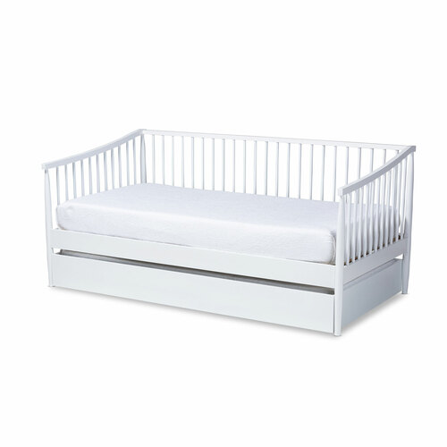 Baxton Studio Renata Classic and Traditional White Finished Wood Twin Size Spindle Daybed with Trundle