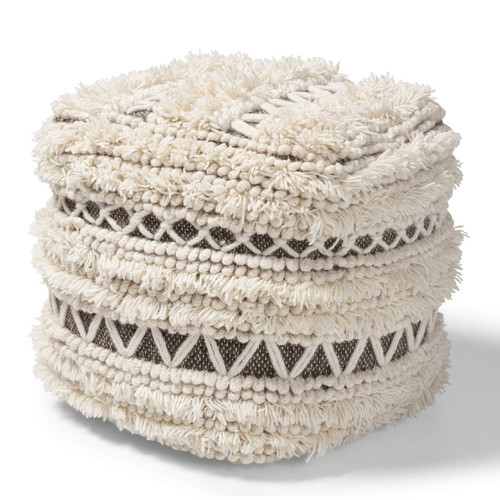 Baxton Studio Vesey Moroccan Inspired Beige and Brown Handwoven Wool Pouf Ottoman