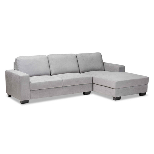 Baxton Studio Nevin Modern and Contemporary Light Grey Fabric Upholstered Sectional Sofa with Right Facing Chaise