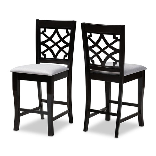 Baxton Studio Nisa Modern and Contemporary Grey Fabric Upholstered Espresso Brown Finished 2-Piece Wood Counter Stool Set of 2