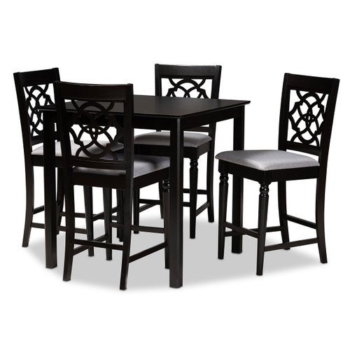 Baxton Studio Arden Modern and Contemporary Grey Fabric Upholstered Espresso Brown Finished 5-Piece Wood Pub Set