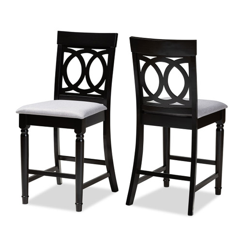 Baxton Studio Verina Modern and Contemporary Grey Fabric Upholstered Espresso Brown Finished 2-Piece Wood Counter Stool Set of 2