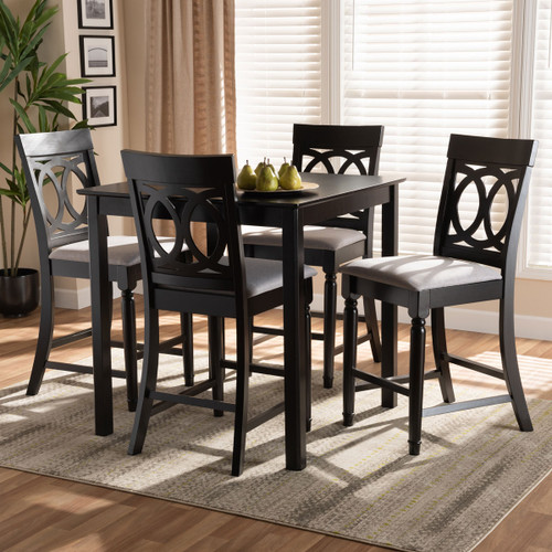 Baxton Studio Verina Modern and Contemporary Grey Fabric Upholstered Espresso Brown Finished 5-Piece Wood Pub Set