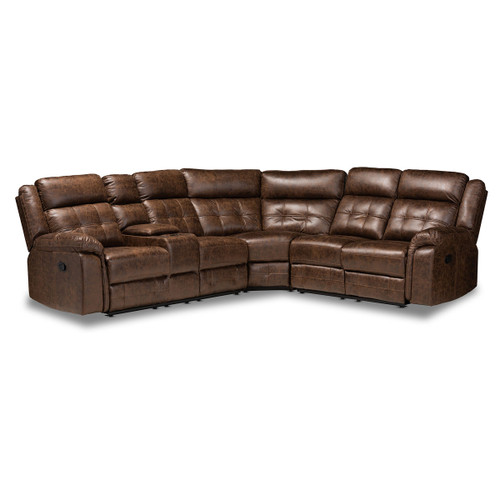 Baxton Studio Vesa Modern and Contemporary Brown Leather-Like Fabric Upholstered 6-Piece Sectional Recliner Sofa with 2 Reclining Seats