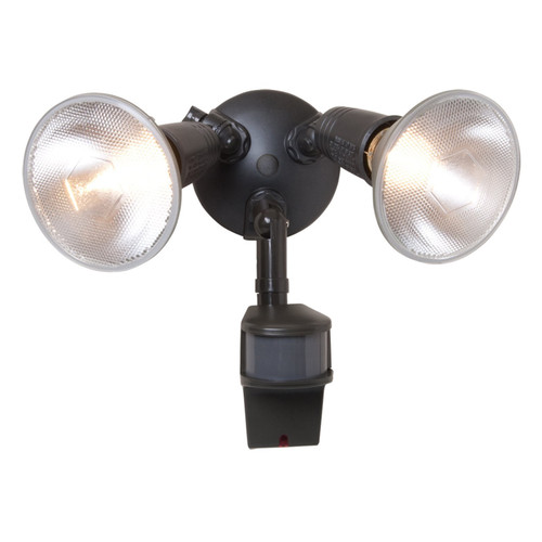 All-Pro Twin-Head Security Floodlight - 200W Max - Motion-Activated - Bronze