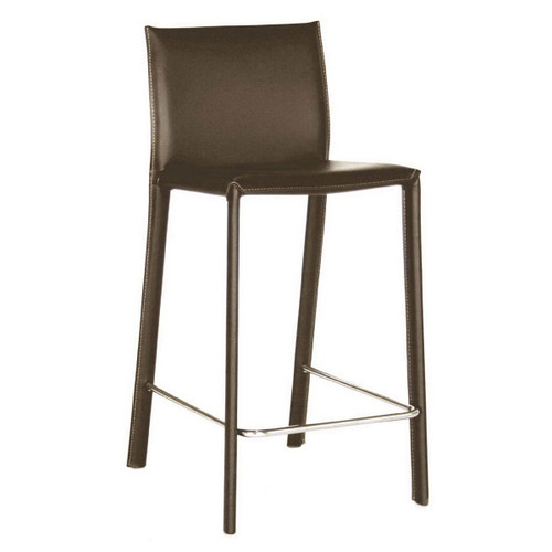 Baxton Studio Crawford Brown Leather Counter Height Stool (Set of 2)