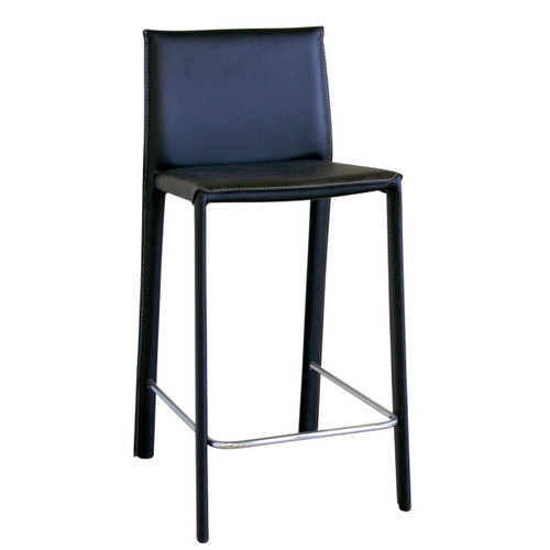 Baxton Studio Crawford Black Leather Counter Height Stool (Set of 2)