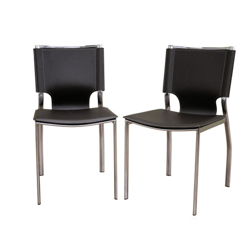 Baxton Studio Dark Brown Leather Dining Chair with Chrome Frame (Set of 2)