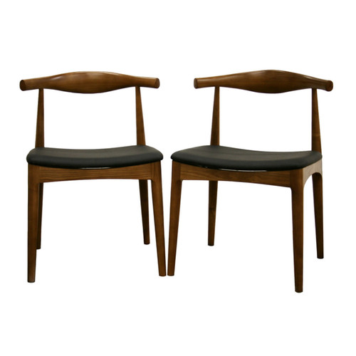Baxton Studio Sonore Solid Wood Mid-Century Style Accent Chair Dining Chair - Set of 2
