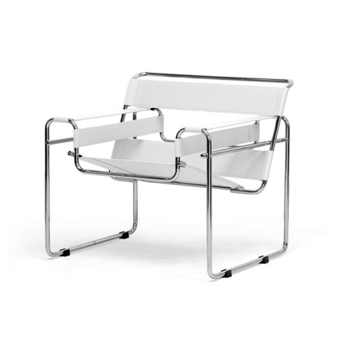 Baxton Studio Jericho Cream Leather Mid-Century Modern Accent Chair