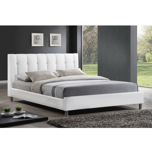 Baxton Studio Vino White Modern Bed with Upholstered Headboard - Queen Size