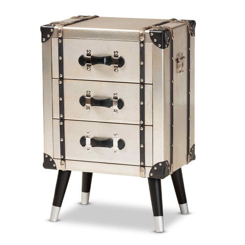 Baxton Studio Dilan Vintage Industrial Antique Silver Finished Metal Trunk Inspired 3-Drawer Nightstand