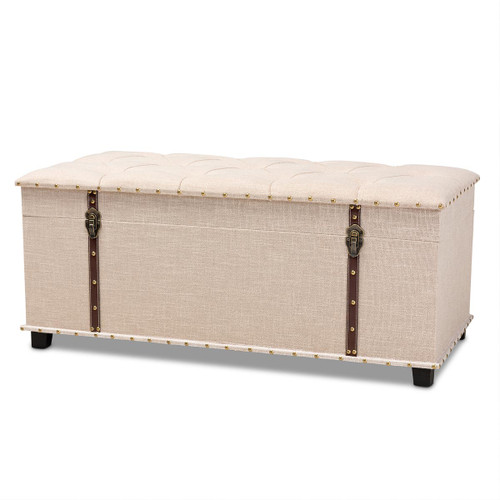 Baxton Studio Kyra Modern and Contemporary Beige Fabric Upholstered Storage Trunk Ottoman