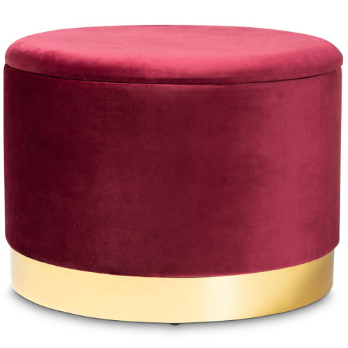 Baxton Studio Marisa Glam and Luxe Red Velvet Fabric Upholstered Gold Finished Storage Ottoman
