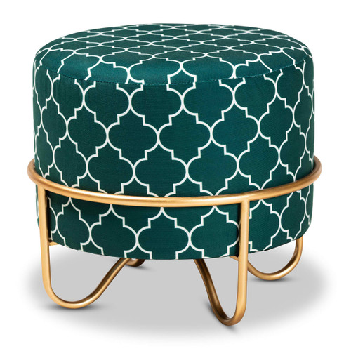 Baxton Studio Candice Glam and Luxe Teal Green Quatrefoil Velvet Fabric Upholstered Gold Finished Metal Ottoman