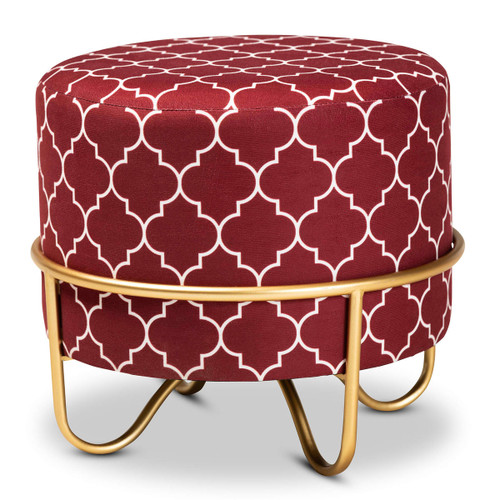 Baxton Studio Candice Glam and Luxe Red Quatrefoil Velvet Fabric Upholstered Gold Finished Metal Ottoman
