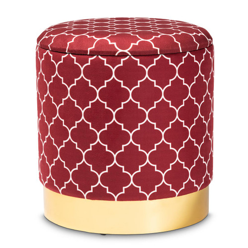 Baxton Studio Serra Glam and Luxe Red Quatrefoil Velvet Fabric Upholstered Gold Finished Metal Storage Ottoman