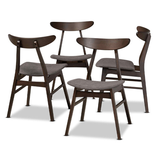 Baxton Studio Britte Mid-Century Modern  Grey Fabric Upholstered  Oak Brown Finished 4-Piece Wood Dining Chair Set Set