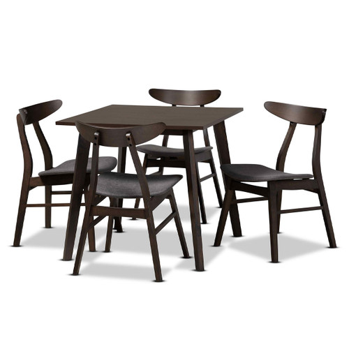 Baxton Studio Britte Mid-Century Modern  Grey Fabric Upholstered  Oak Brown Finished 5-Piece Wood Dining Set