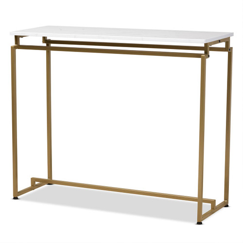 Baxton Studio Renzo Modern and Contemporary Brushed Gold Finished Metal Console Table with Faux Marble Tabletop