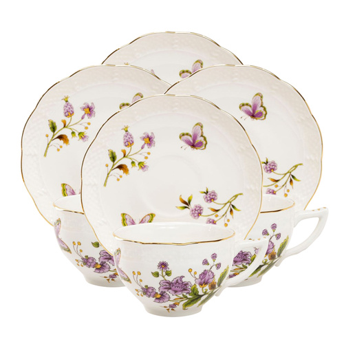 Purple Butterfly Porcelain - Teacup and Saucer Set of 4