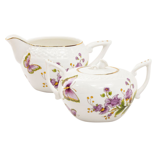 Purple Butterfly Porcelain Sugar and Creamer Set