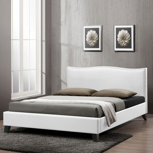 Baxton Studio Battersby White Modern Bed with Upholstered Headboard - Queen Size