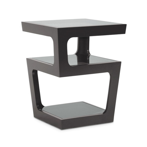 Baxton Studio Clara Black Modern End Table with 3-Tiered Glass Shelves