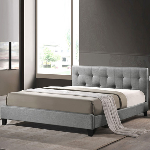 Baxton Studio Annette Gray Linen Modern Bed with Upholstered Headboard - Full Size