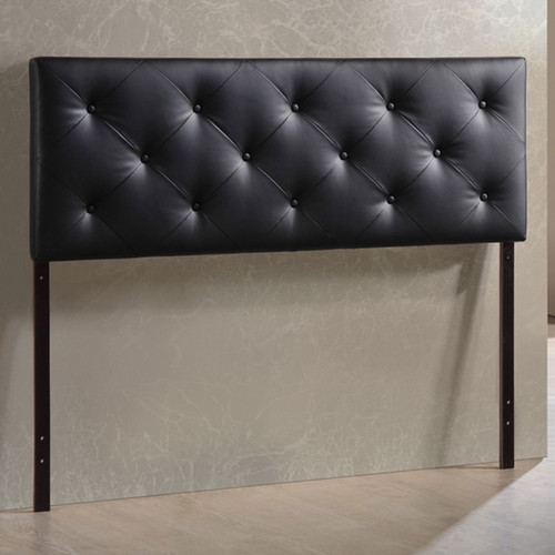 Baxton Studio Baltimore Modern and Contemporary Full Black Faux Leather Upholstered Headboard