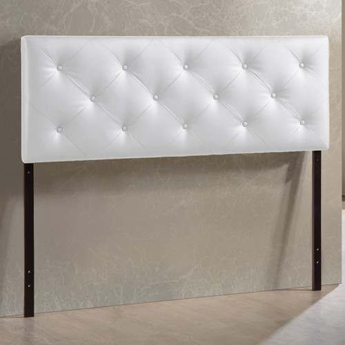 Baxton Studio Baltimore Modern and Contemporary Full White Faux Leather Upholstered Headboard