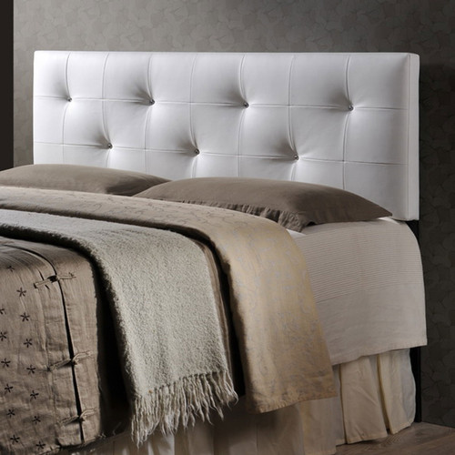 Baxton Studio Dalini Modern and Contemporary Full White Faux Leather Headboard with Faux Crystal Buttons