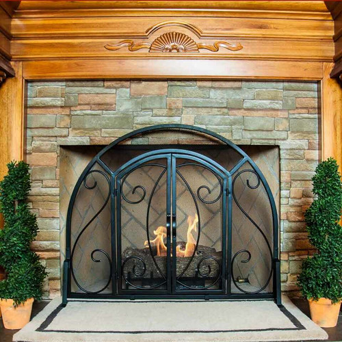 Single Panel Ornate Fireplace Screen with Doors - Black - LESS THAN PERFECT