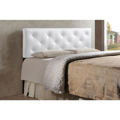 Baxton Studio Baltimore Modern and Contemporary King White Faux Leather Upholstered Headboard